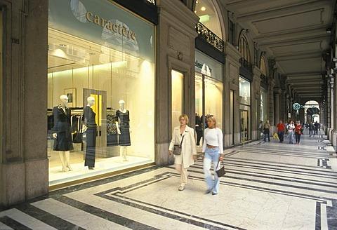 Turin Torino Piemonte Piedmont Italy Via Roma shopping arcades luxury shops